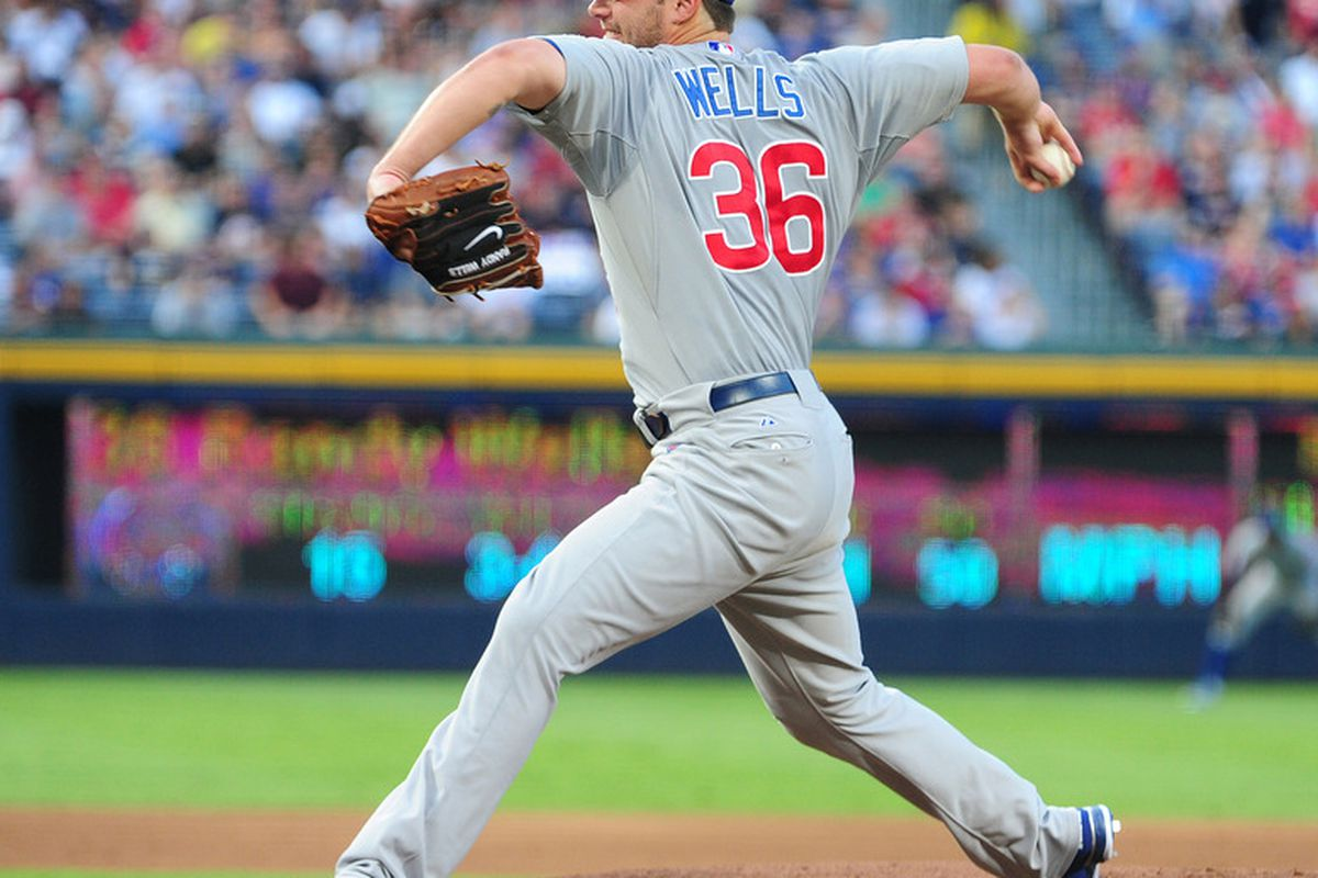 ATLANTA - AUGUST 13: Randy Wells #36 of the Chicago Cubs pitches against the Atlanta Brave at Turner Field on August 13, 2011 in Atlanta, Georgia. (Photo by Scott Cunningham/Getty Images)