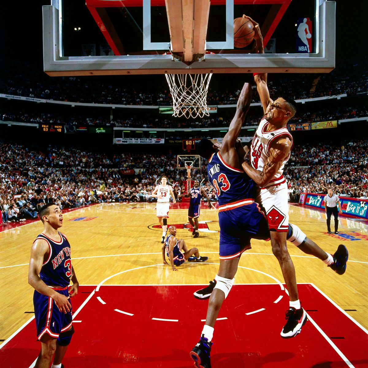 Pippen goes for a dunk