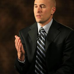 Former Salt Lake police officer Eric Moutsos gives an interview Tuesday, Feb. 24, 2015, to KSL, Deseret News and KSL Newsradio. Moutsoso resigned from the department after allegations related to an assignment to work in the 2014 Pride parade.