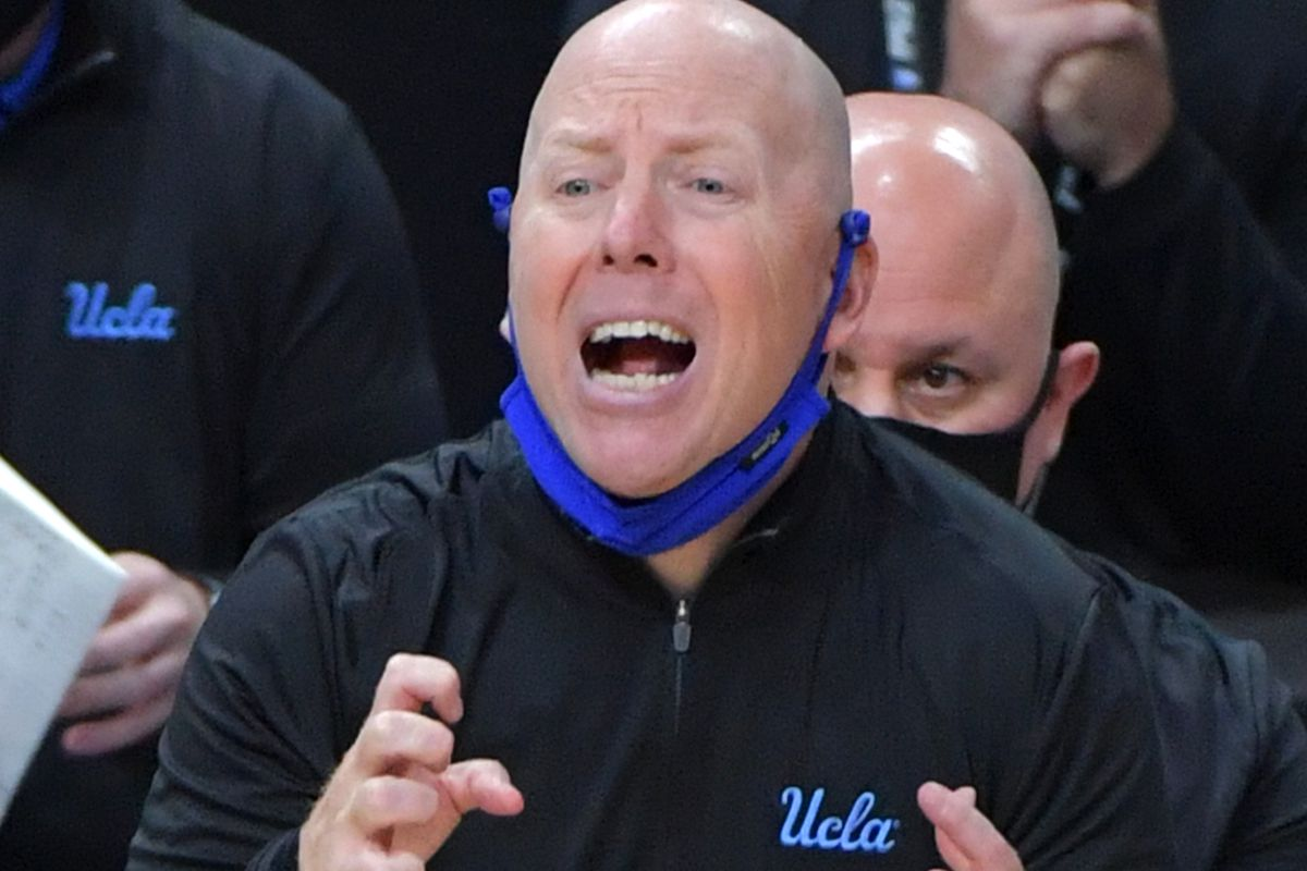 UCLA Bruins head coach Mick Cronin reacts during an overtime period against the Oregon State Beavers at T-Mobile Arena.