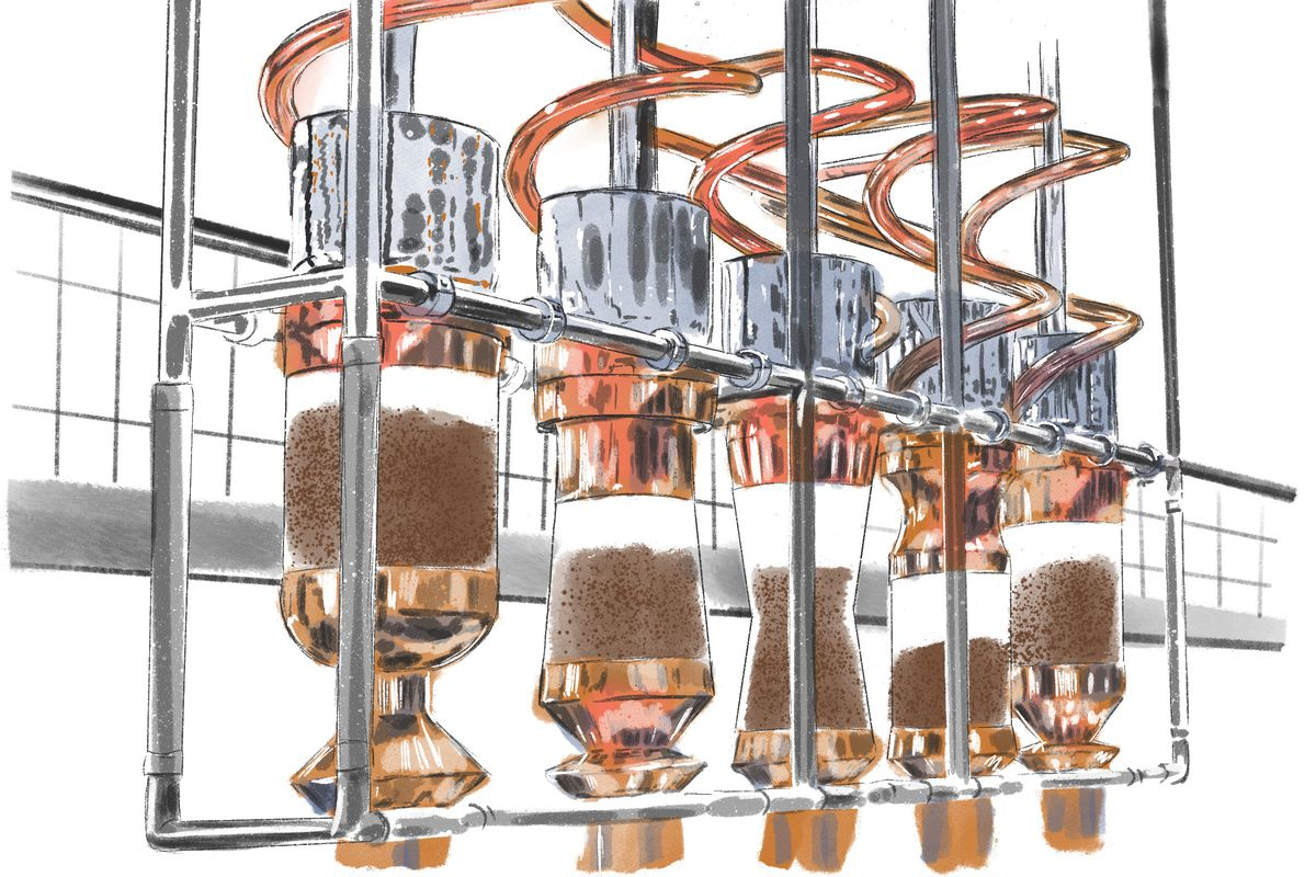 An illustration of fancy coffee machines at the Starbucks Reserve store.