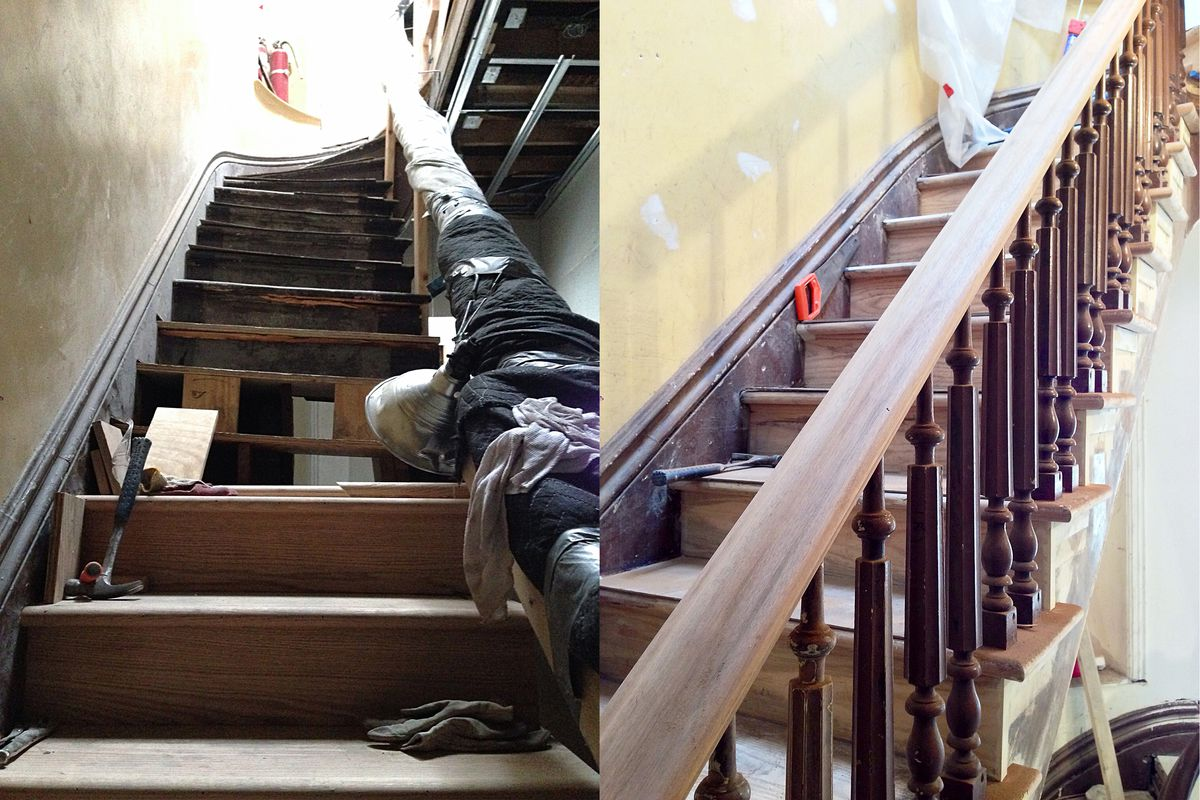Part Iv Systems Management Or Rewiring From Top To Bottom Curbed How Much Does Your House Cost Buck Had The Original Brownstone Stairwell Rebuilt Left With Handrails Stripped Right Photos Courtesy Of Projects