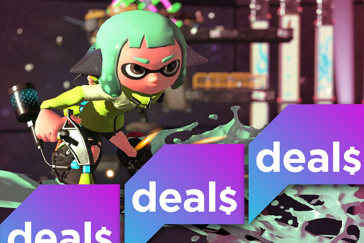 A screenshot from Splatoon 2, overlaid with the Polygon Deals logo