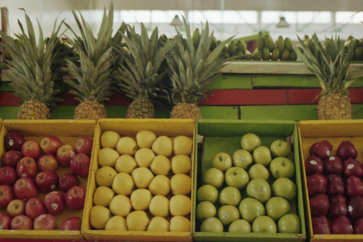 four varieties of apples sit in bins
