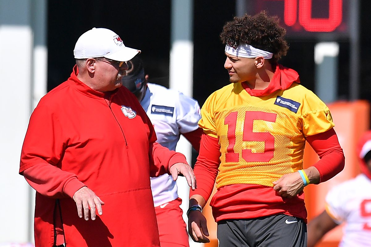 Head Coach Andy Reid and Patrick Mahomes #15 of the Kansas City Chiefs speak before performing drills at Kansas City Chiefs practice prior to Super Bowl LIV at Baptist Health Training Facility at Nova Southern University on January 29, 2020 in Davie, Florida.