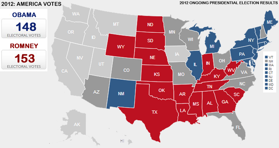 Presidential Election Vote Maps Gallery Cageside Seats - Us map 2012 presidential election