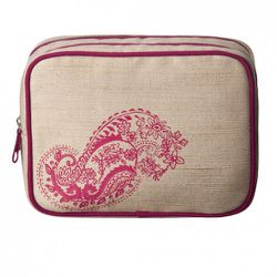 Square Organizer in Gold Linen with Pink Paisley $16.99