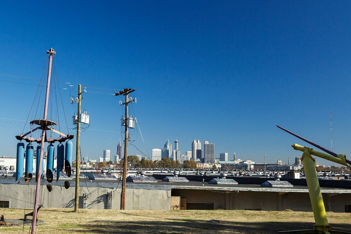 The view of downtown from Adair Park, over the Metropolitan complex.