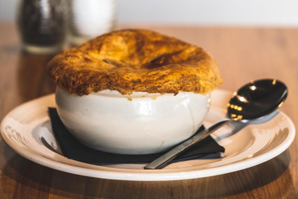 The chicken and vegetable pot pie at Cookbook