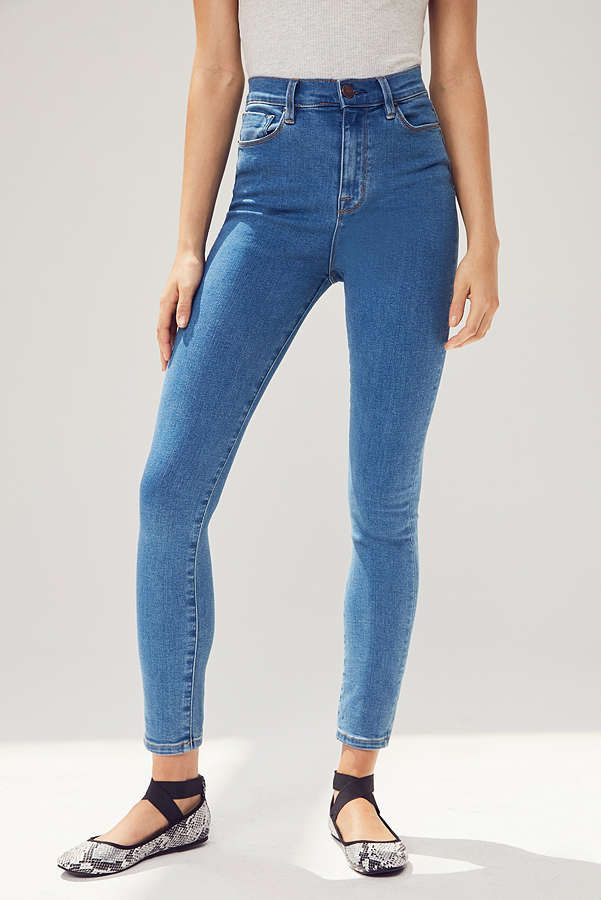 A pair of high rise jeans