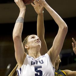 Jennifer Hamson goes up for the layup in BYU's game against the San Francisco Dons, in the Marriott Center  February 16, 2012