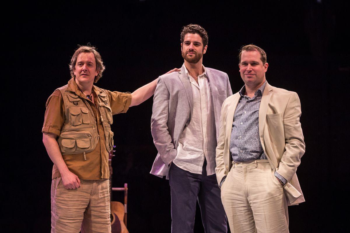 "Derek Hasenstab (from left), Peter Saide and Karl Hamilton in the Marriott Theatre production of ""Mamma Mia!"" (Photo: Liz Lauren)"