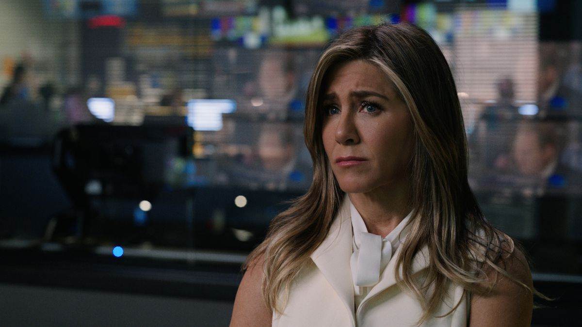 Alex Levy (Jennifer Aniston) stands at the ready in a control room in the Apple TV Plus drama The Morning Show.