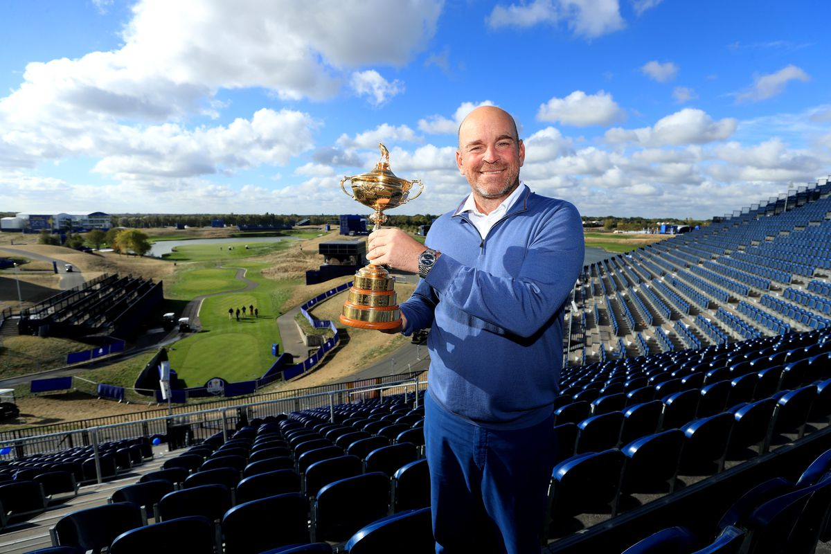 Captain Thomas Bjorn of Europe pose for a photo with The Ryder Cup during a press conference following Europe's win in the 2018 Ryder Cup at Le Golf National on October 1, 2018 in Paris, France.