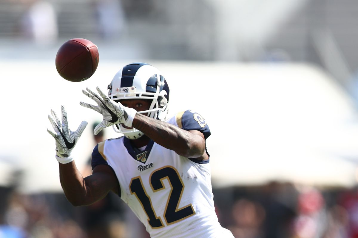 Brandin Cooks of the Los Angeles Rams makes a catch during warmup against the San Francisco 49ers at Los Angeles Memorial Coliseum on October 13, 2019 in Los Angeles, California.