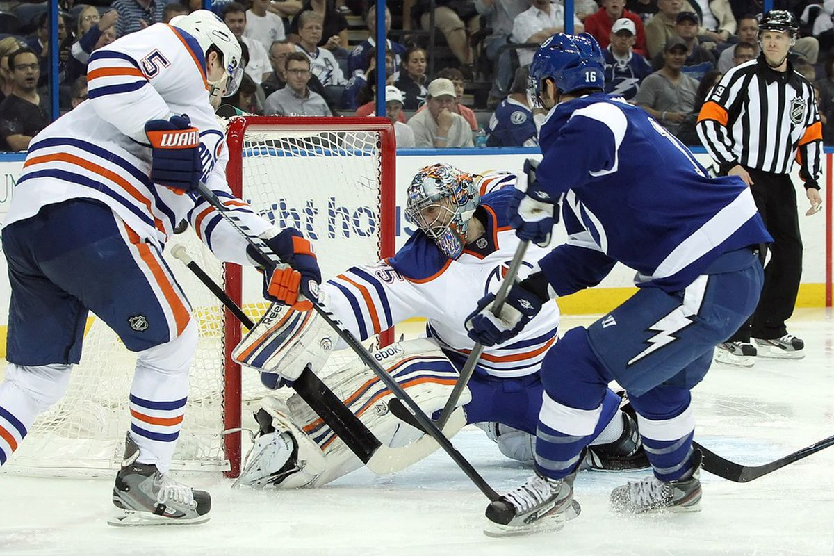 March 22, 2012; Tampa FL, USA; Tampa Bay Lightning right wing Teddy Purcell (16) shoots as Edmonton Oilers goalie Nikolai Khabibulin (35) defends during the second period. Mandatory Credit: Kim Klement-US PRESSWIRE