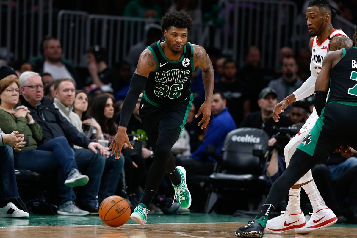 Boston Celtics guard Marcus Smart during the second quarter against the Houston Rockets at TD Garden.