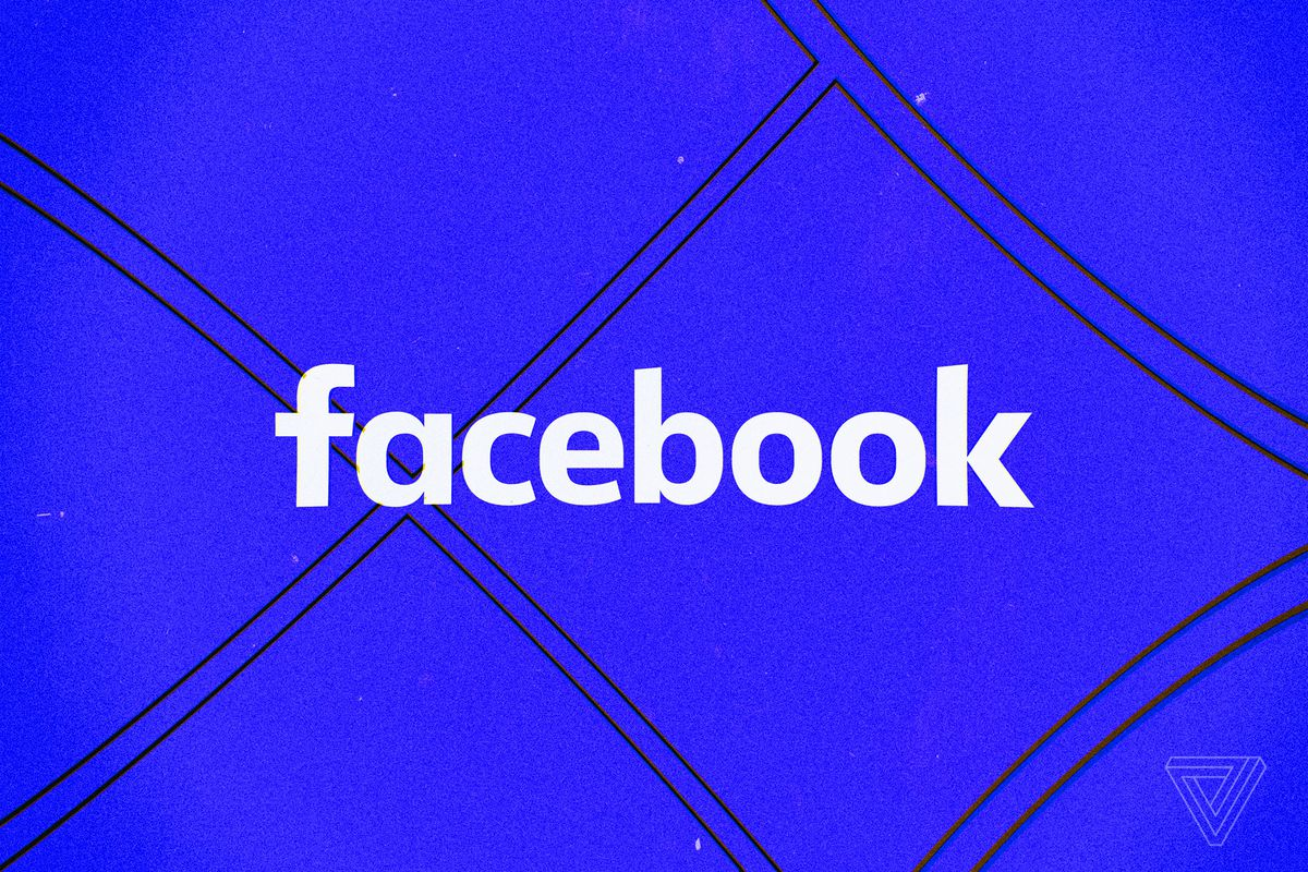 The word facebook in white against a blue background.