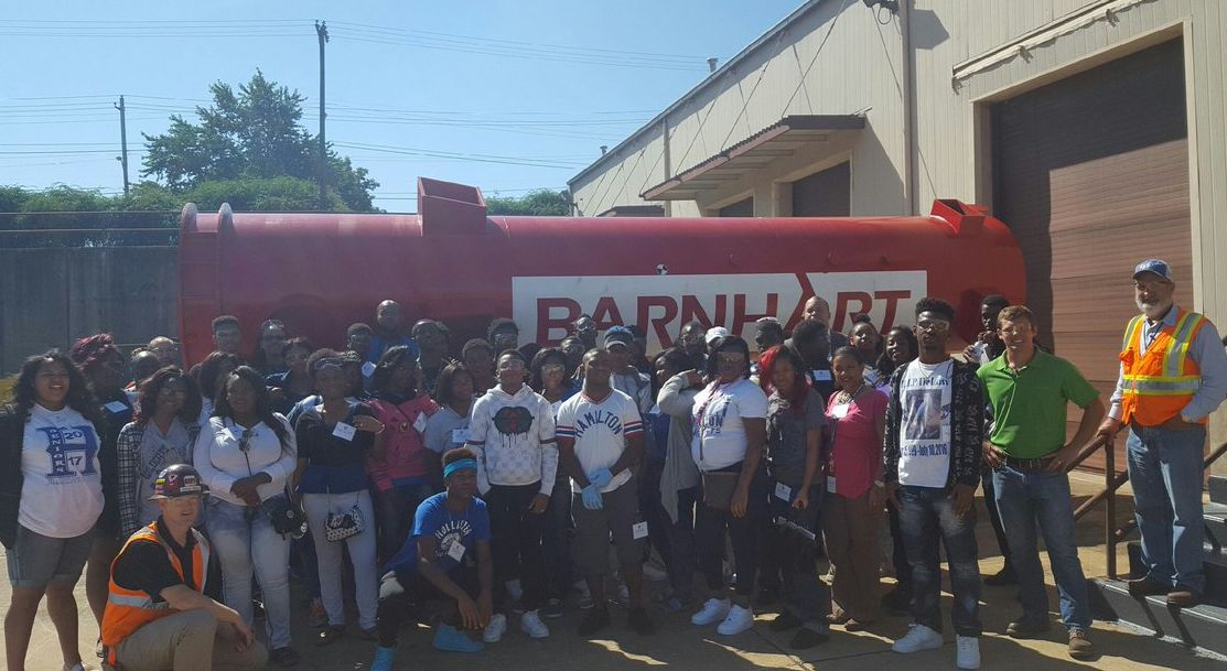 Hamilton High students tour Barnhart Crane and Rigging Co. in Memphis on National Manufacturing Day in 2016.
