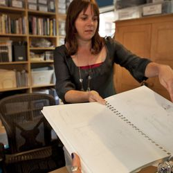 The designer shows us some of her sketches, one of the first steps in her design process.