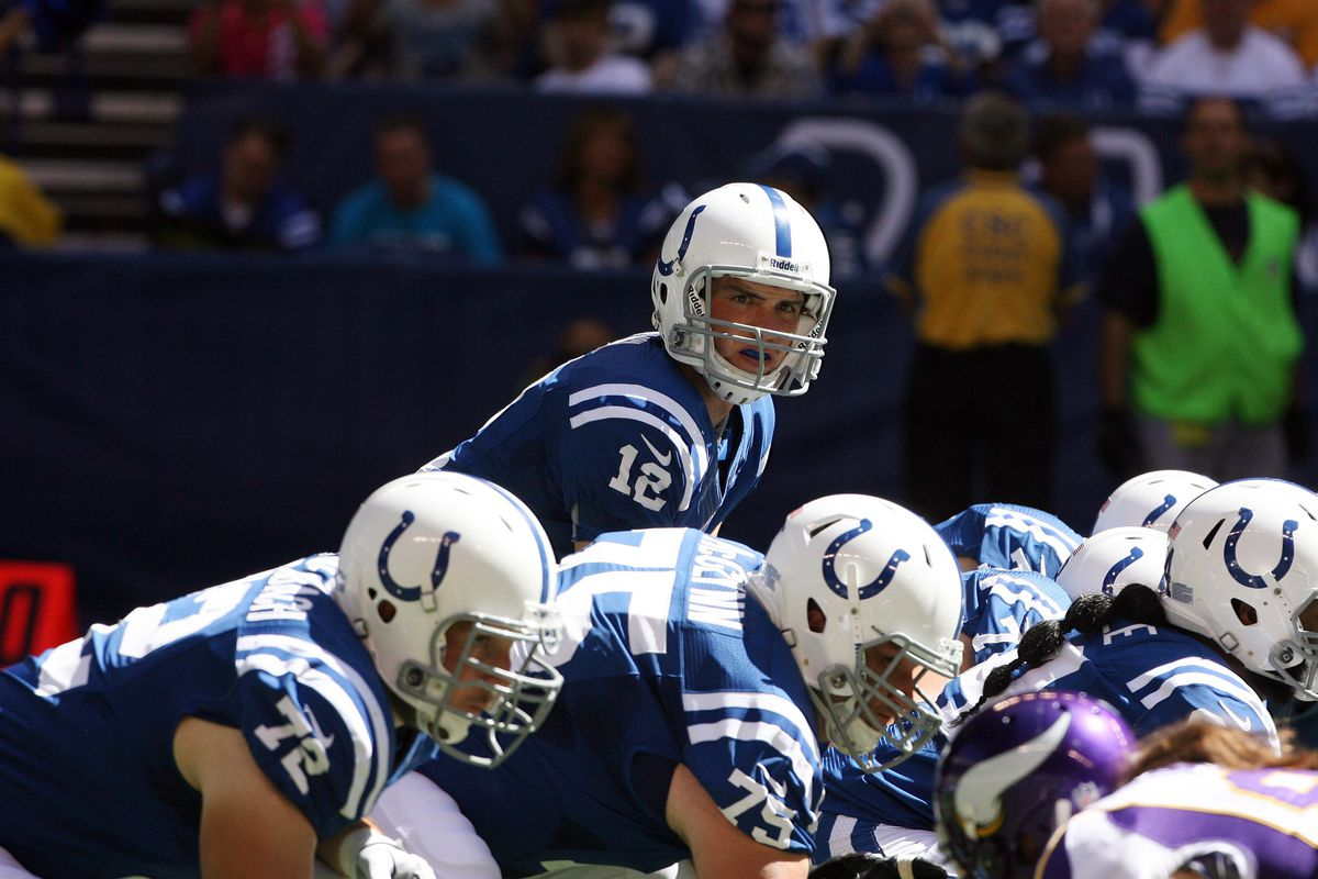 Sep 16, 2012; Indianapolis, IN, USA; Indianapolis Colts quarterback Andrew Luck (12) takes a snap under center against the Minnesota Vikings at Lucas Oil Stadium. Indianapolis defeats Minnesota 23-20. Mandatory Credit: Brian Spurlock-US PRESSWIRE