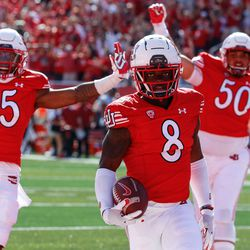 Utah cornerback Clark Phillips III (8) looks while celebrating for a touchdown during the fourth quarter of an NCAA college football game against Washington State at Rice-Eccles Stadium on Saturday, Sept. 25, 2021 in Salt Lake City. Utah won the game 24-13.