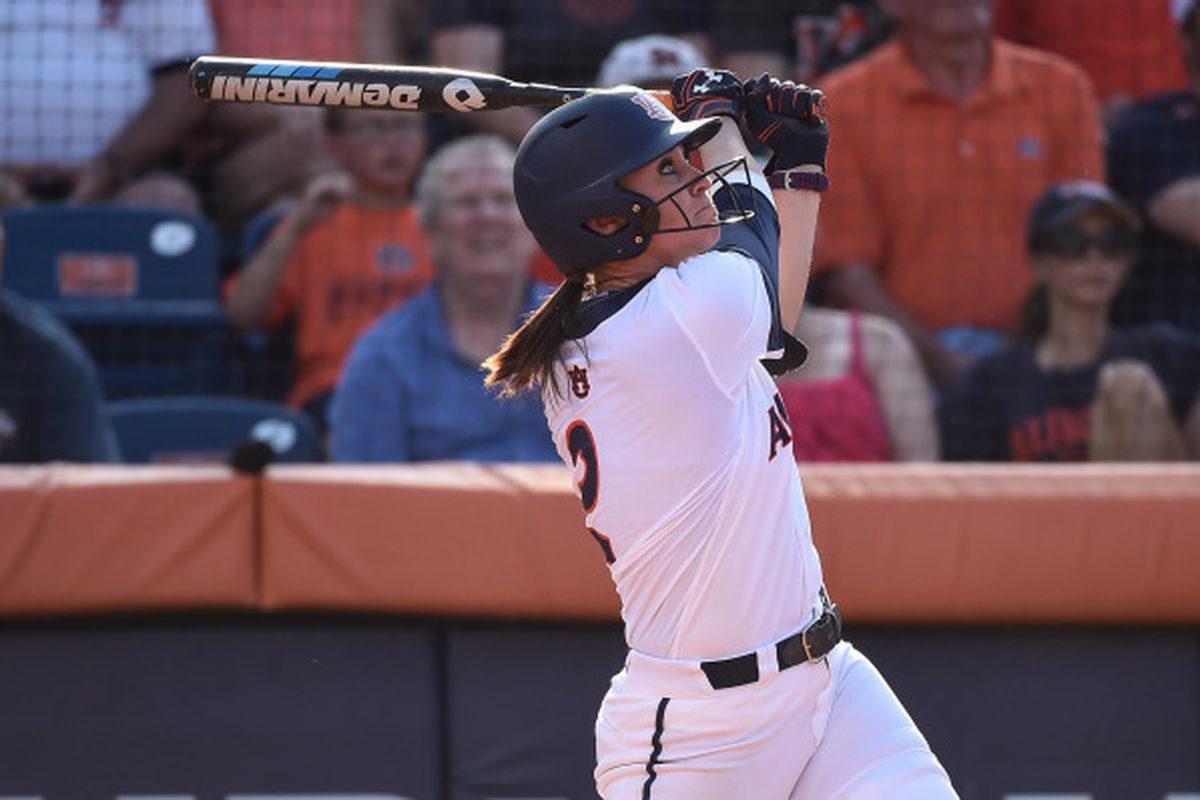 Haley Fagan looks shocked when she hit her home run against Arizona last Sunday.