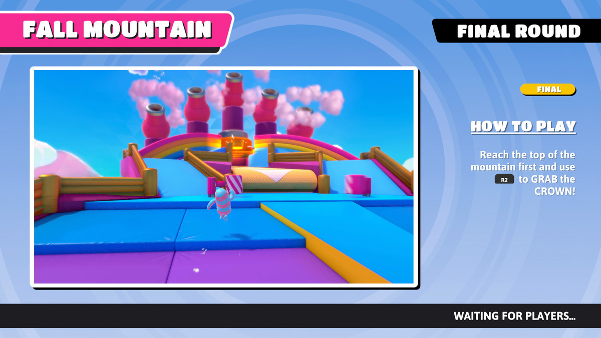 The info screen for Fall Mountain in Fall Guys