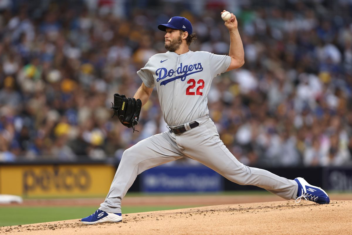Clayton Kershaw of the Los Angeles Dodgers pitches during the first inning of a game against the San Diego Padres at PETCO Park on June 22, 2021 in San Diego, California.