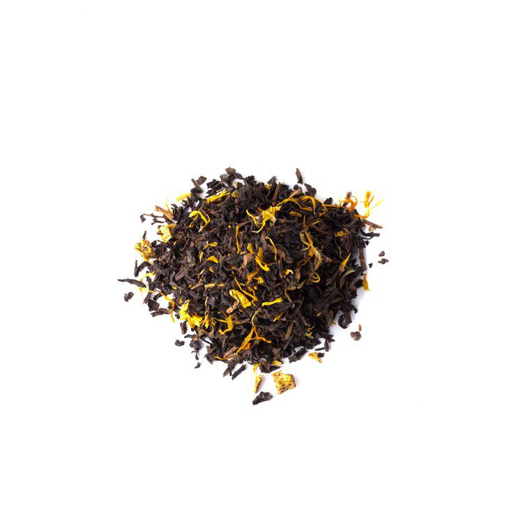 A pile of oolong tea on a white background
