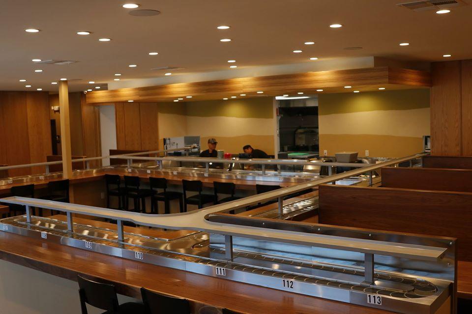 Restaurant interior showing revolving sushi belt