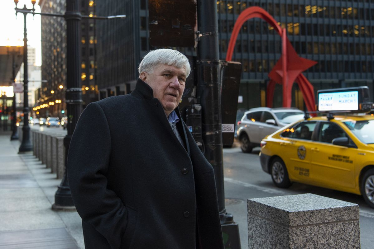 Patrick Doherty, chief of staff for Cook County Commissioner Jeff Tobolski, exits the Dirksen Federal Building after pleading not guilty at his arraignment, Thursday, Feb. 20, 2020, in Chicago.