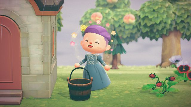 An Animal Crossing: New Horizons character wearing a smock