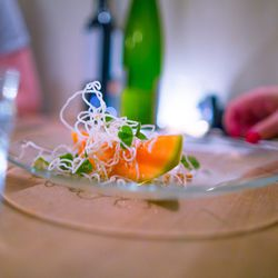 """Melon with Vietnamese flavors and wood sorrel from the Chez Jose Dinner at Whirlybird by <a href=""""http://www.flickr.com/photos/jmoranmoya/7846422720/in/pool-eater/"""">jmoranmoya</a>"""