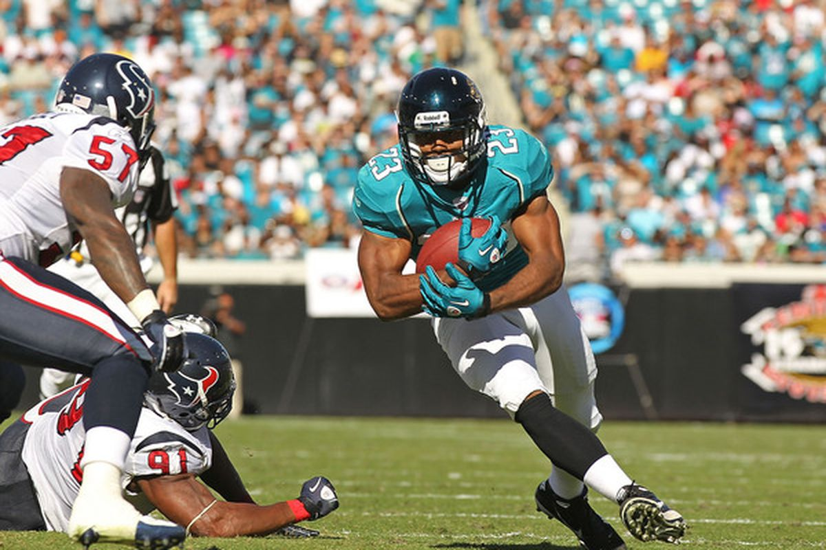 Viking fans might be seeing a lot of Rashad Jennings in the 2012 season opener. . .and not very much of star running back Maurice Jones-Drew.  (Photo by Mike Ehrmann/Getty Images)
