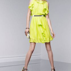 Ruffle dress in Sulfur Spring, $39.99; lace miniaudiere, $34.99; lace-up pumps in Nolita print, $34.99