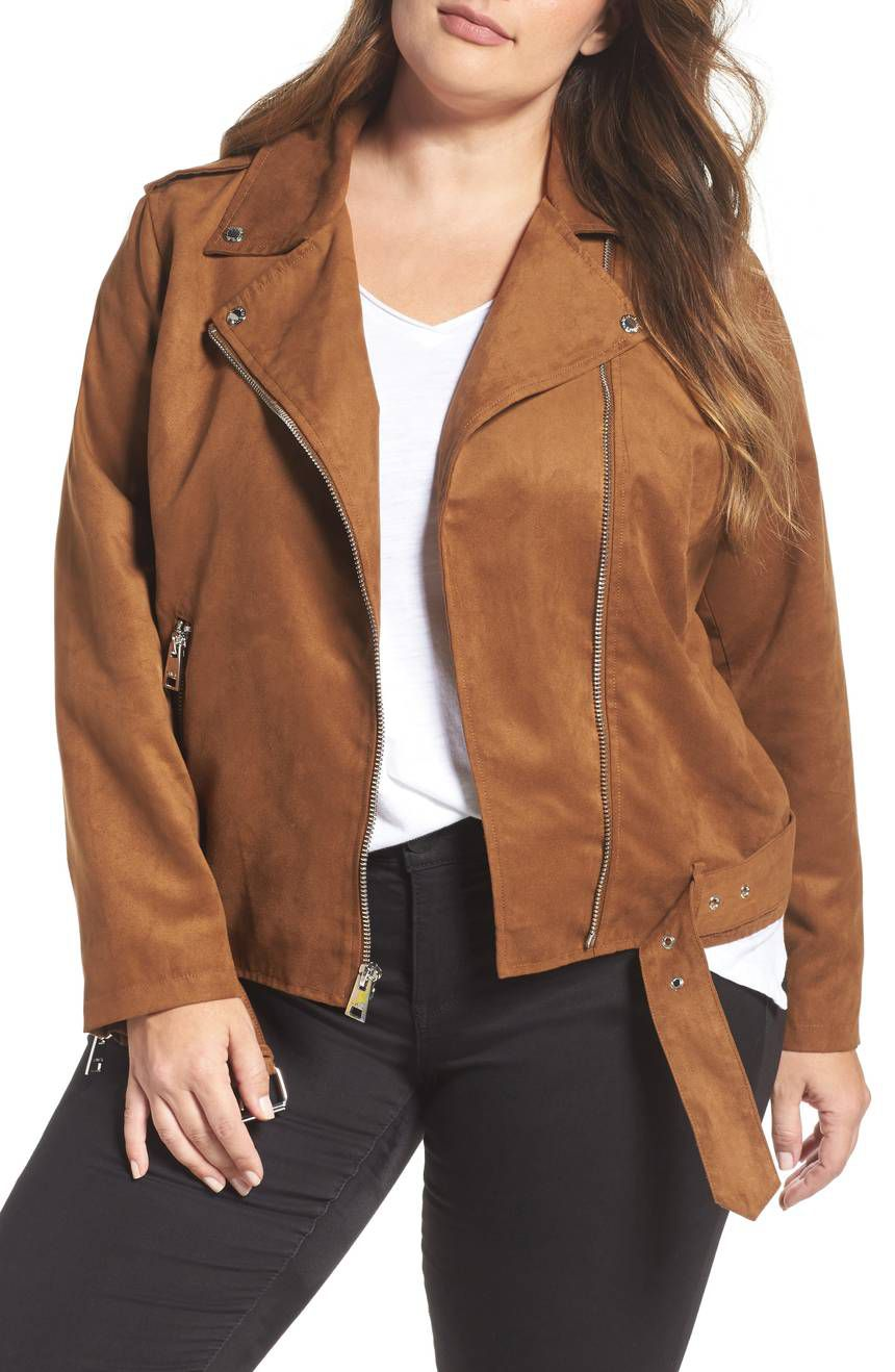 Levi's Faux Suede Moto Jacket in brown