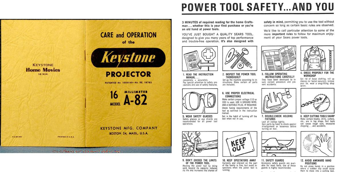 A yellow instruction booklet with a mix of typography on the front and back cover next to a manual with power-tool safety illustrations and instructions