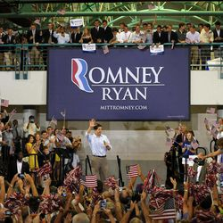 Republican vice presidential candidate, Rep. Paul Ryan, R-Wis., is welcomed after entering a campaign event at East Carolina University, Monday, Sept. 3, 2012, in Greenville, N.C.