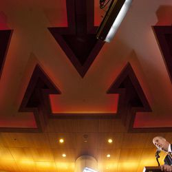Norwood Teague speaks during his introduction as Minnesota athletic director, in the football locker room at TCF Stadium in Minneapolis on Monday, April 23, 2012. Teague was athletic director at Virginia Commonwealth.