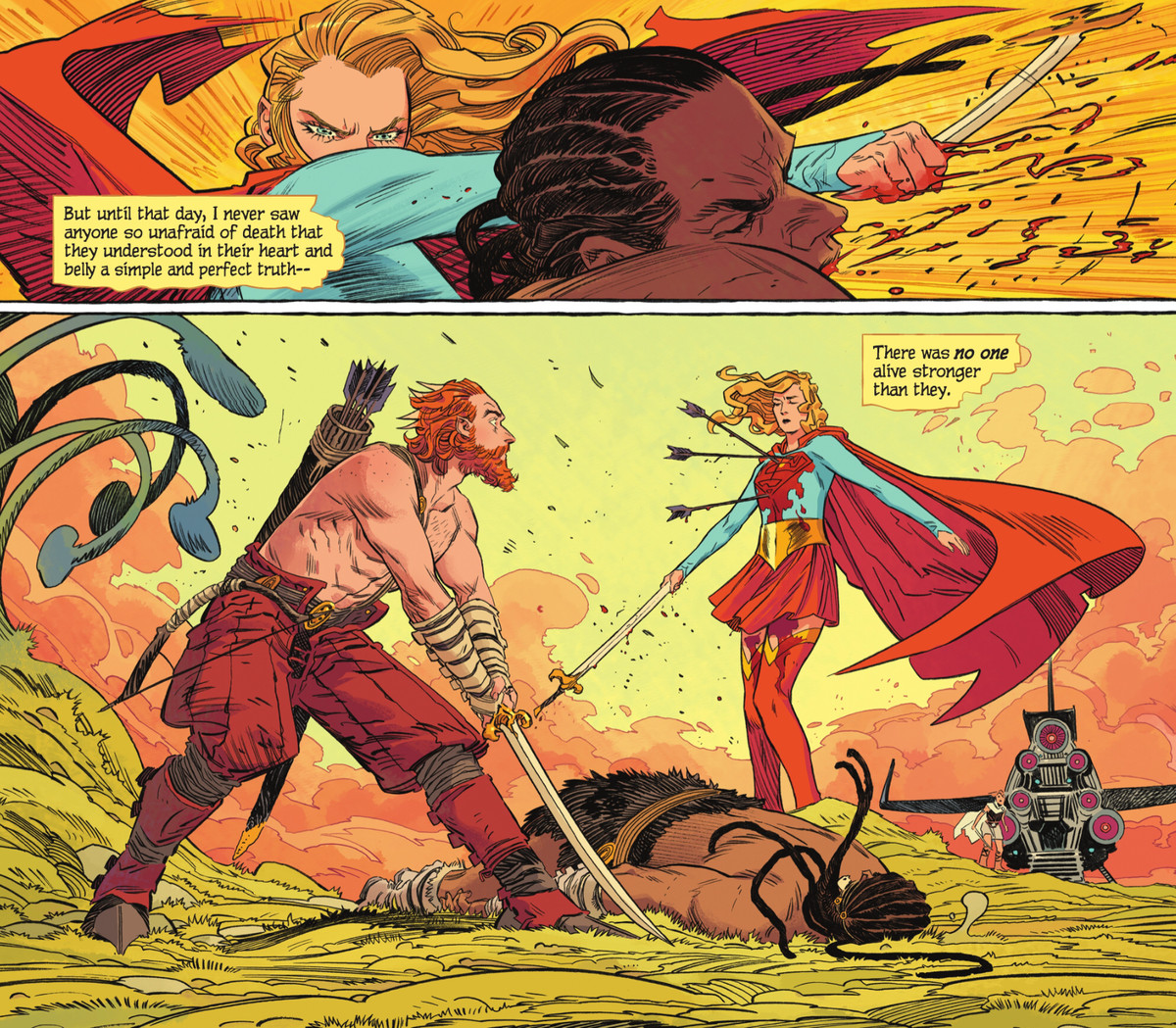 """Holding his sword by the tip of the blade, Supergirl punches an assailant to the ground, to the shock of his friend, who fired the three arrows embedded in her bloody chest. """"Until that day,"""" says a narration box, """"I never saw anyone so unafraid of death that they understood in their heart [...] there was no one alive stronger than they,"""" in Supergirl: Woman of Tomorrow #1 (2021)."""