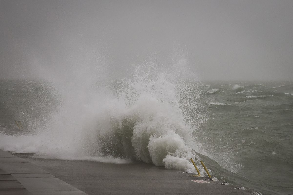 High waves and dangerous water conditions prompted a warning from authorities Sept. 1, 2020.