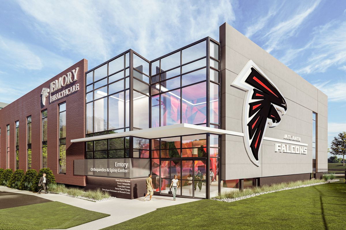 """A rendering shows a modern building with the name """"Emory Healtcare"""" and an Atlanta Falcons logo on the side."""