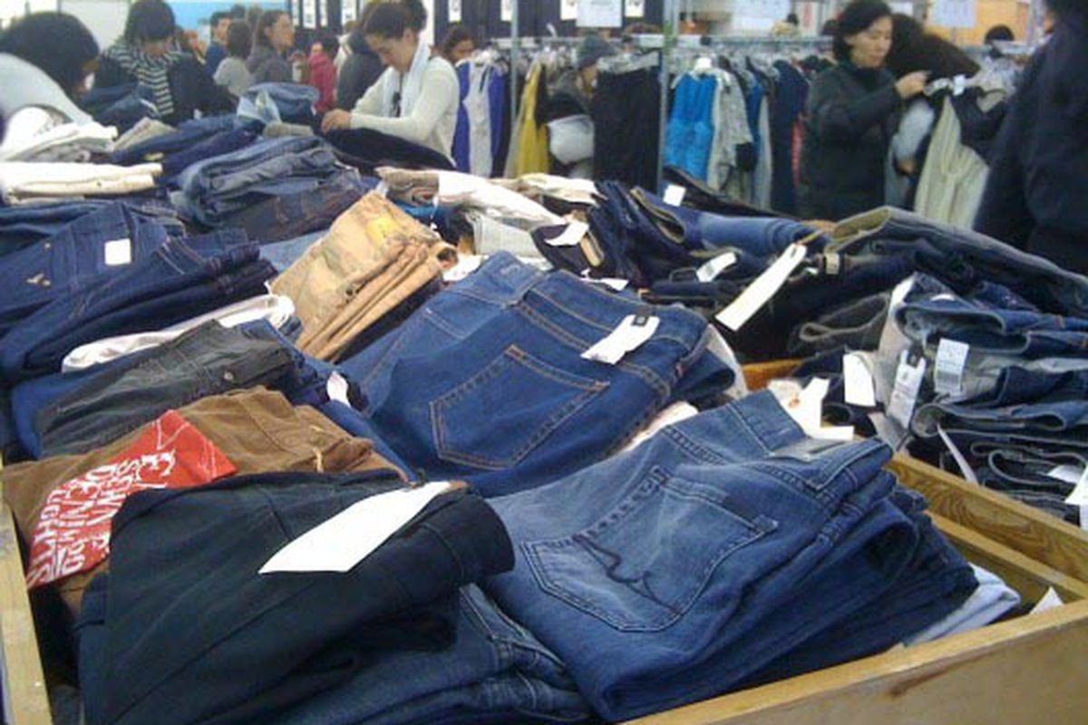 """A pile of denim on the sale's <a href=""""http://ny.racked.com/archives/2010/02/11/next_up_womenswear_at_the_barneys_warehouse_sale.php?o=4"""">opening day</a>"""