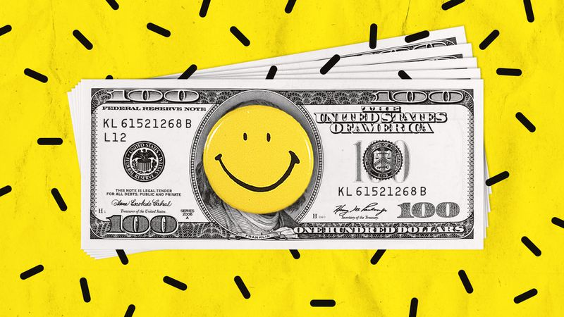 Illustration of a stack of one hundred dollar bills with a yellow smiley face pin over the portrait of Benjamin Franklin.