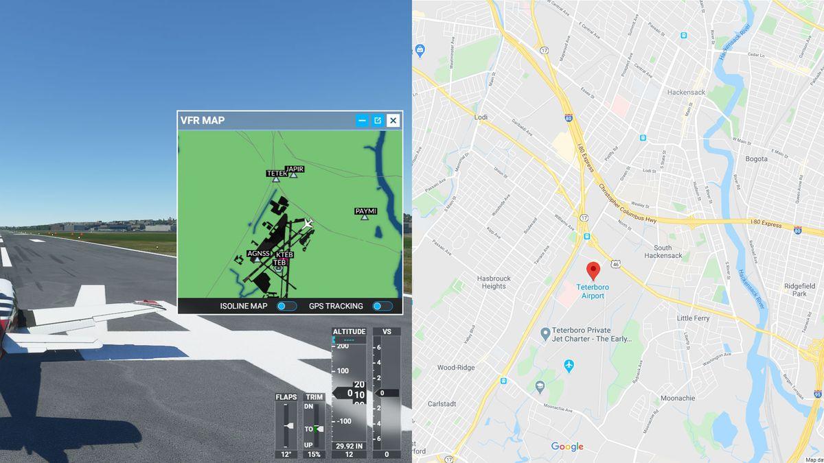 Two maps in Microsoft Flight Simulator