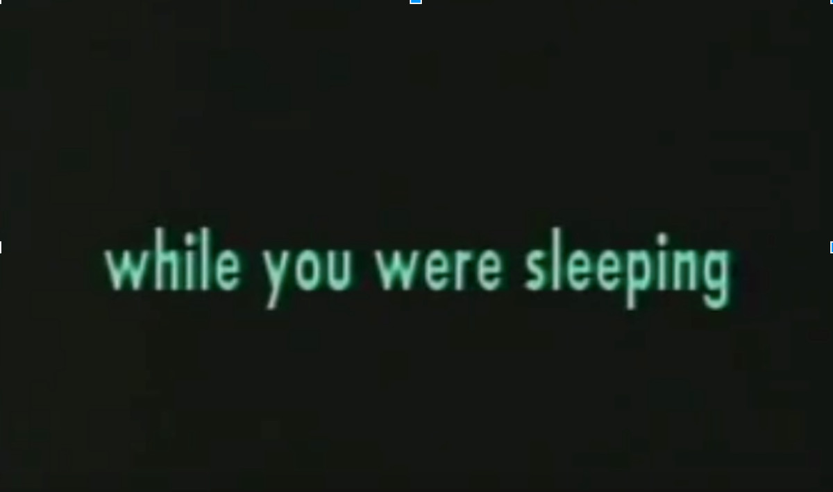 """Green text on a black background that reads: """"while you were sleeping"""""""