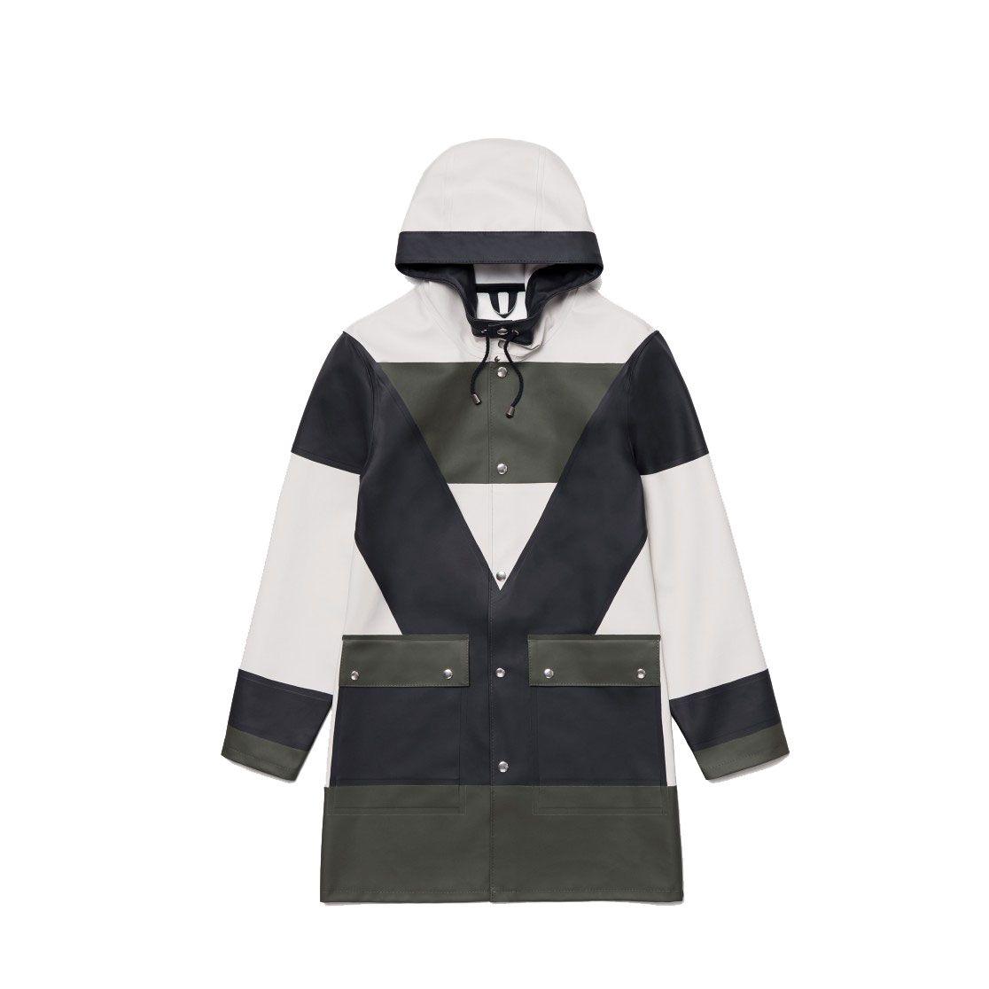 A colorblocked raincoat