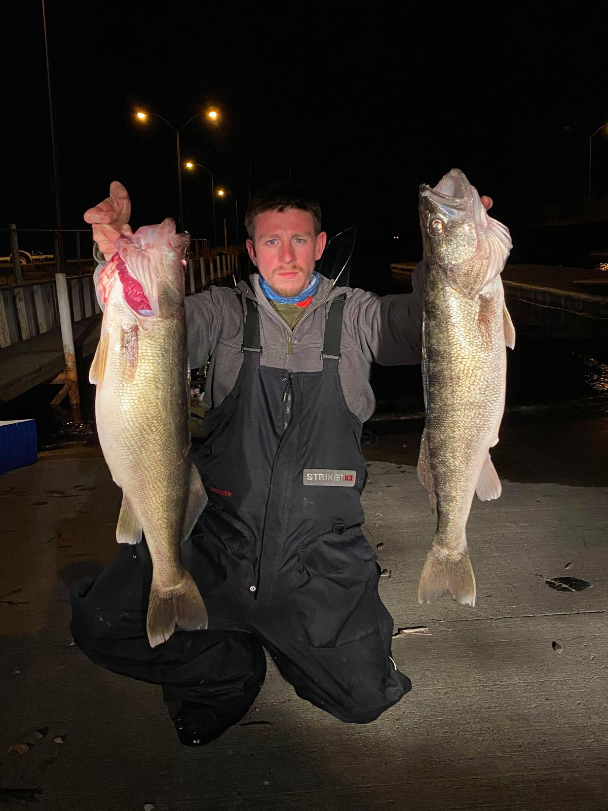 William Somerfield doubled up with 30- and 29-inch walleyes while kayak fishing on Lake Erie. Provided photo