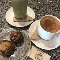 Blended pistachio and matcha drink, hazelnut horchata latte and Turkish cookies at Oromo Cafe.| Ji Suk Yi/Sun-Times